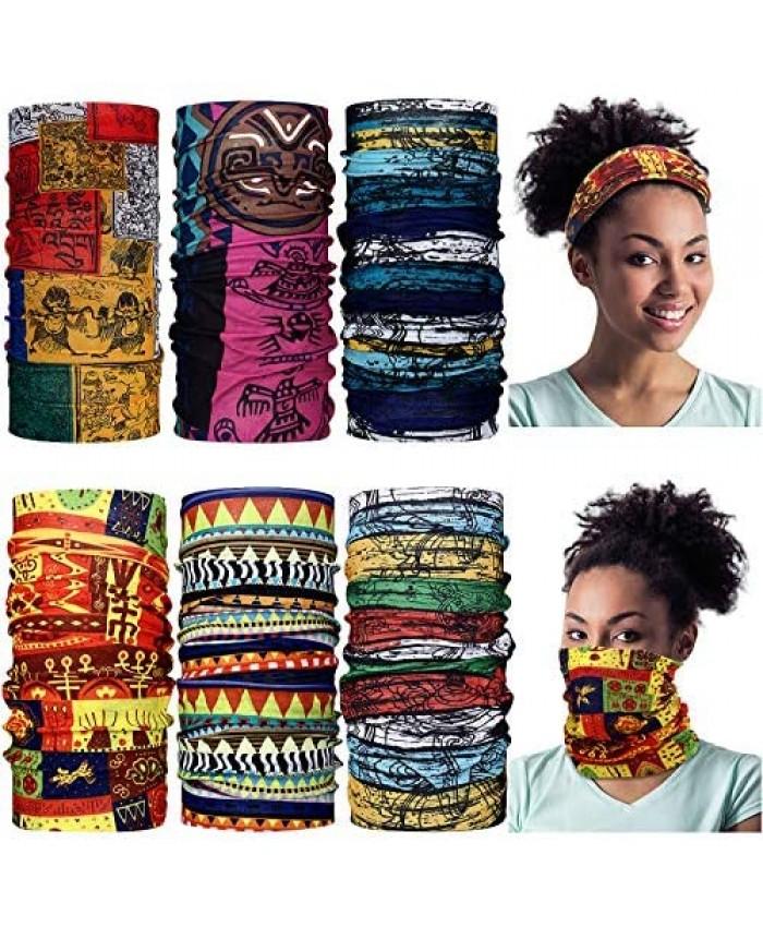 6 Pieces African Face Bandanas Face Covering Unisex Boho Neck Gaiter Balaclava Head Wrap Scarf for Motorcycling Outdoor Use
