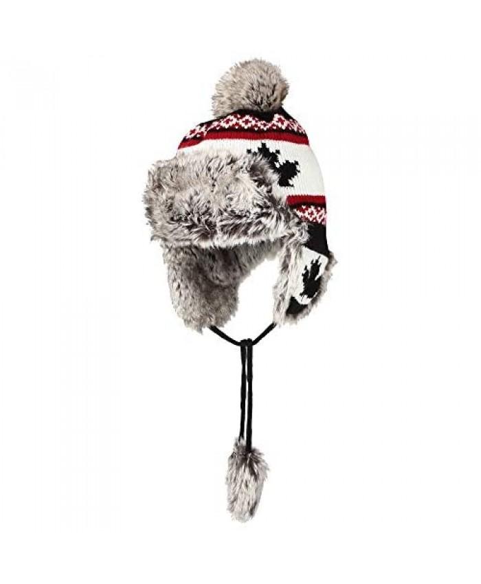 WITHMOONS Fleece Maple Fair Isle Knit Beanie Hat Earflaps Cap FZ70021