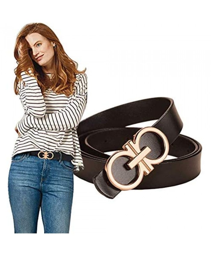 Longwu 100% Italian Genuine Cowhide Leather Jeans Belt with Double O-Ring Buckle Packed in a Gift Box