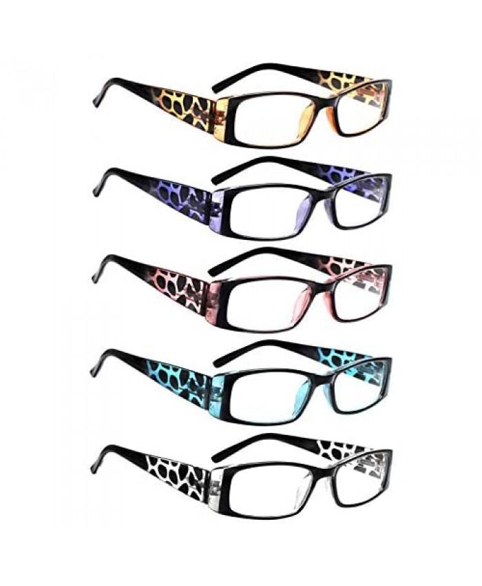 5 Pack Spring Hinge Reading Glasses Rectangular Fashion Quality Readers for Men and Women