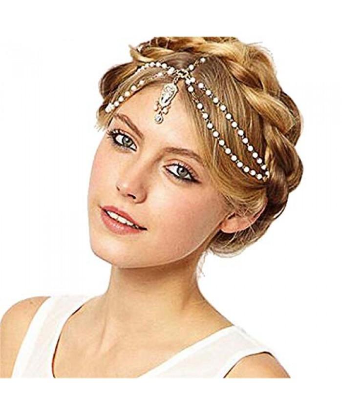 Yizaca Boho Crystal Head Chain White Rhinestone Hair Chain Beaded Headpieces Tassel Headband Jewelry for Women and Girls