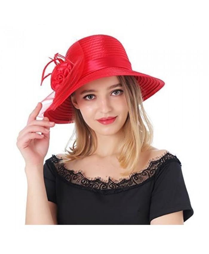 DANTIYA Women's Organza Wide Brim Floral Ribbon Kentucky Derby Church Dress Sun Hat …