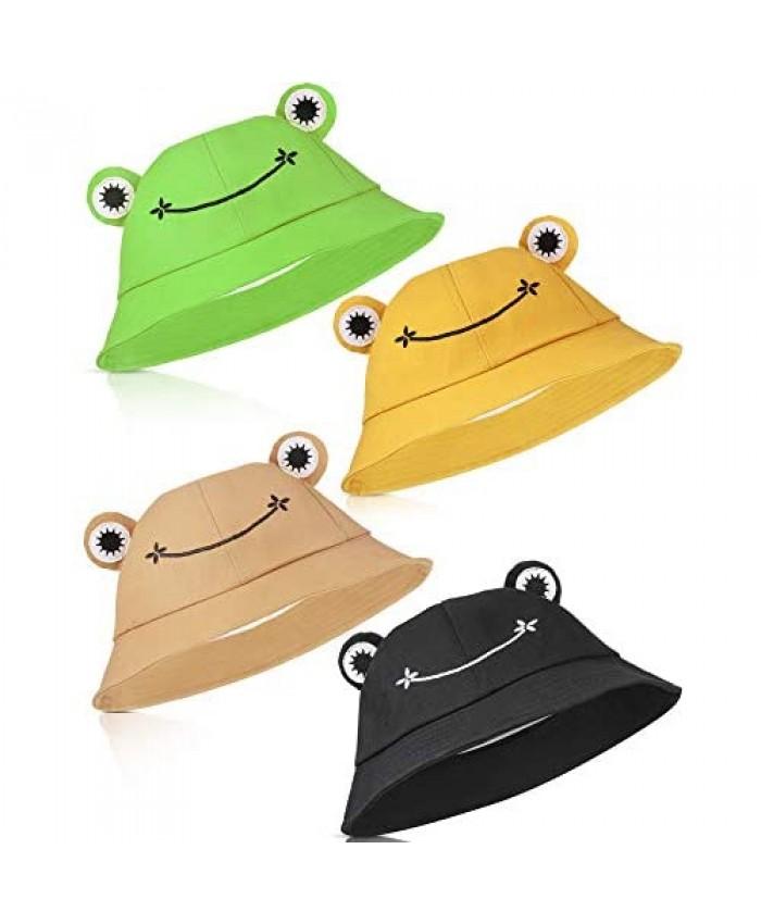 4 Pieces Adult Frog Bucket Hat Summer Bucket Sun Hat Wide Brim Fisherman Cap Beach Hat for Women Teens Girls Outdoor Wear