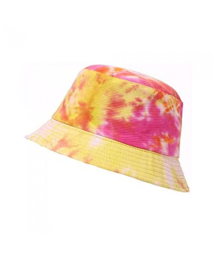 Beauideal Bucket Hats Women's Tie Dye Reversible Summer Sun Hat 100% Cotton Beach Cap