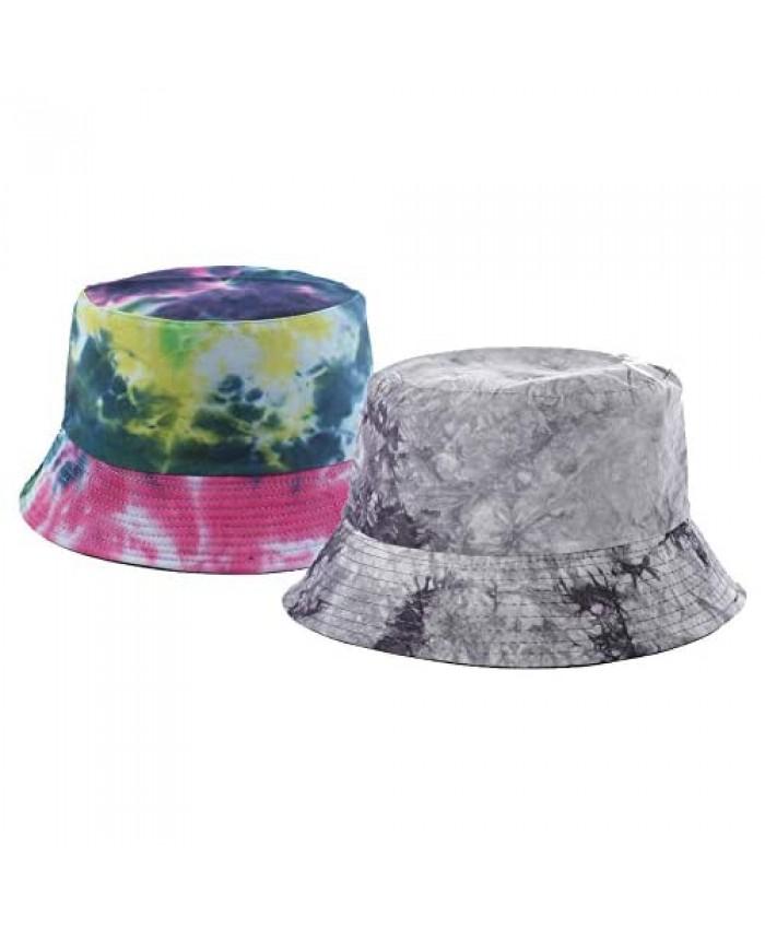 Bucket-Hat Summer Tie-dye Reversible-Fisherman Cap Packable Sun Protection Outdoor