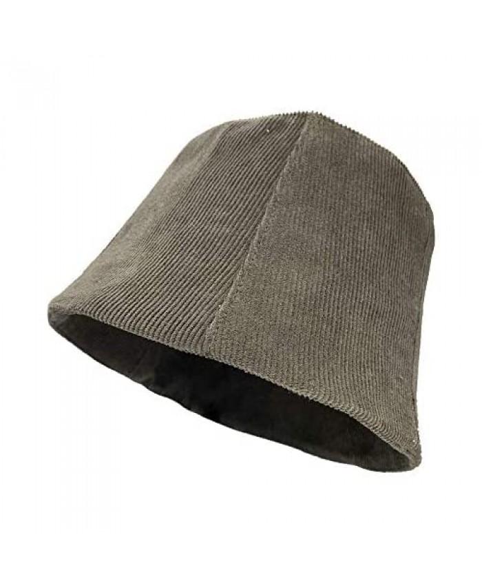 Croogo Corduroy Bucket Hat Packable Reversible Fisherman Hat Windproof Fall Winter Hat Travel Beach Summer Cap Boonie Cap