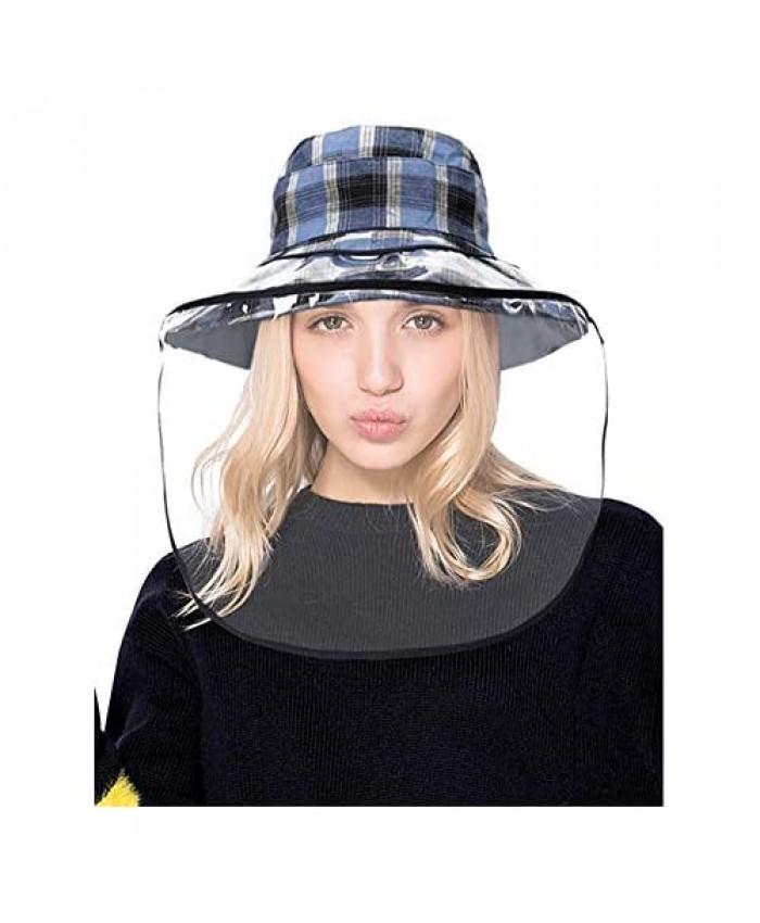 DOCILA Detachable Face Cover Bucket Hats For Women Reversible Large Brim Plaid Tartan Windproof Fisherman Hats Floppy Summer Hats (Z-BlackBlue)