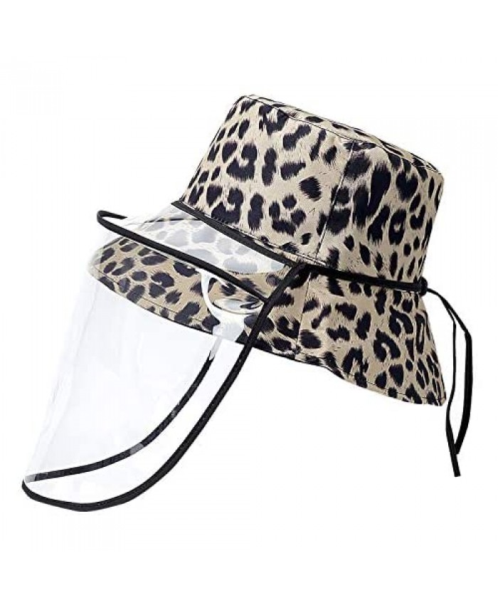DOCILA Removable Face Cover Bucket Cap For Women Double Side Leopard Outdoor Windproof Facial Covers Fisherman Sun Caps (P-FaceCover)
