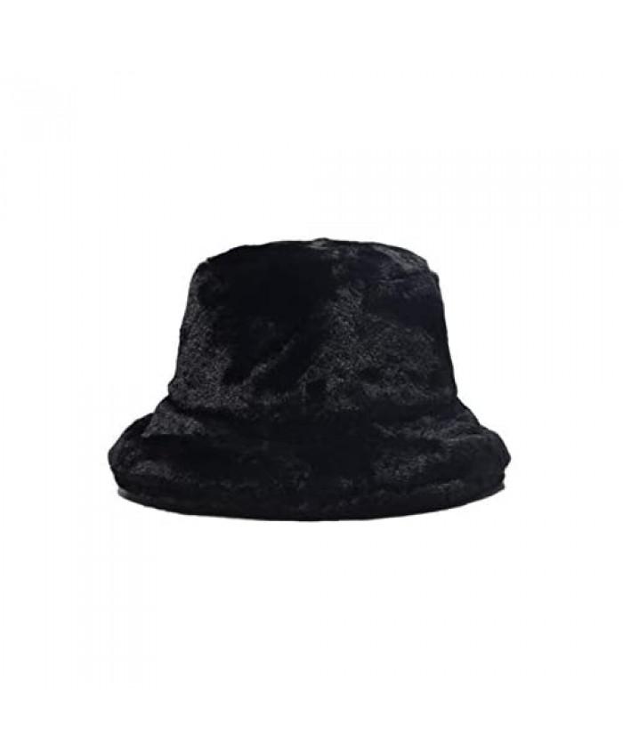 KORADI Womens Winter Bucket Hat Tie Dye Warm Faux Fur Wool Hats Outdoor Fisherman Cap