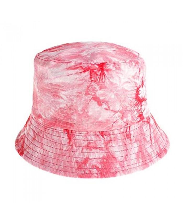 Multifit Unisex Tie Dye Bucket Hat Colored Print UV Protection Packable Fisherman Hat Outdoors Casual Packable Sun Cap