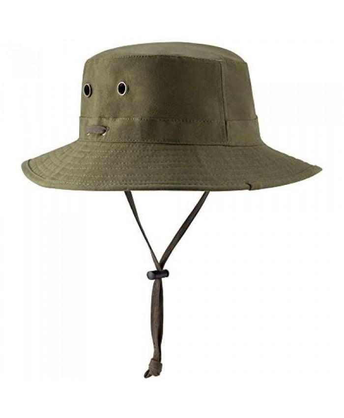 POLATU Unisex Plain Color Packable Bucket Hat Outdoor Fishermen Sun Hat Floppy Wide Brim Bucket Hat