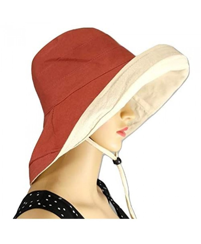 Shanlin Wide Brim Cotton Linen Bucket Sun Hats with Memory Wire and Detachable Chin Cord