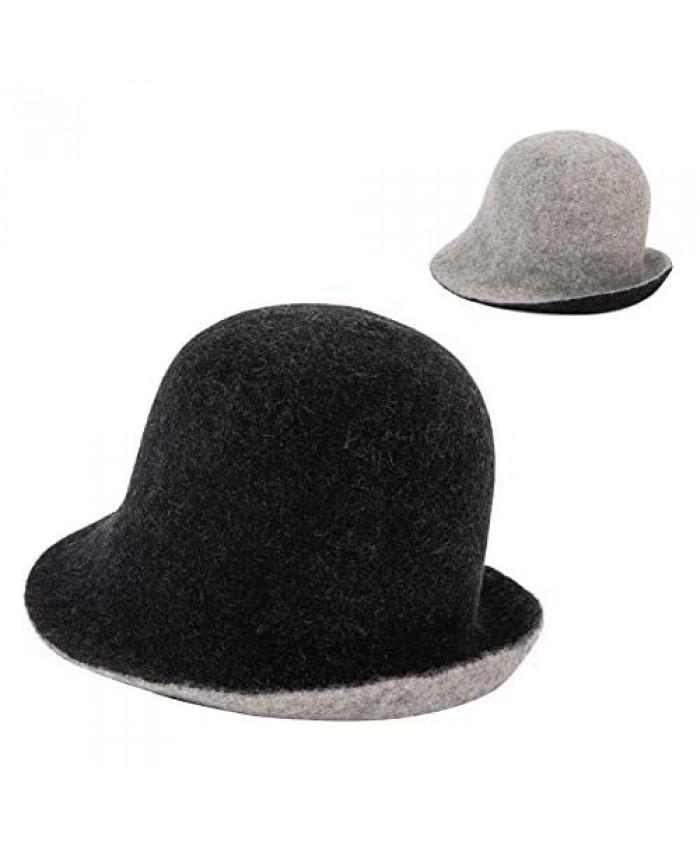 Spring Winter Bucket Hats for Women Girls Faux Fur 100% Wool Fisherman Cap Double-Side-Wear Vintage Cloche Furry Warm Hats