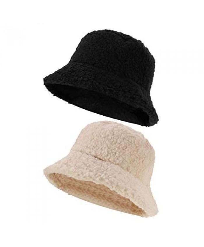SUSSURRO 2 Pack Women Faux FurWinter Bucket Hats Winter Warmer Fisherman Hat for Women Girls