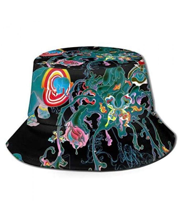 Unisex Trippy Print Travel Bucket Hat Summer Fisherman Cap Sun Hat