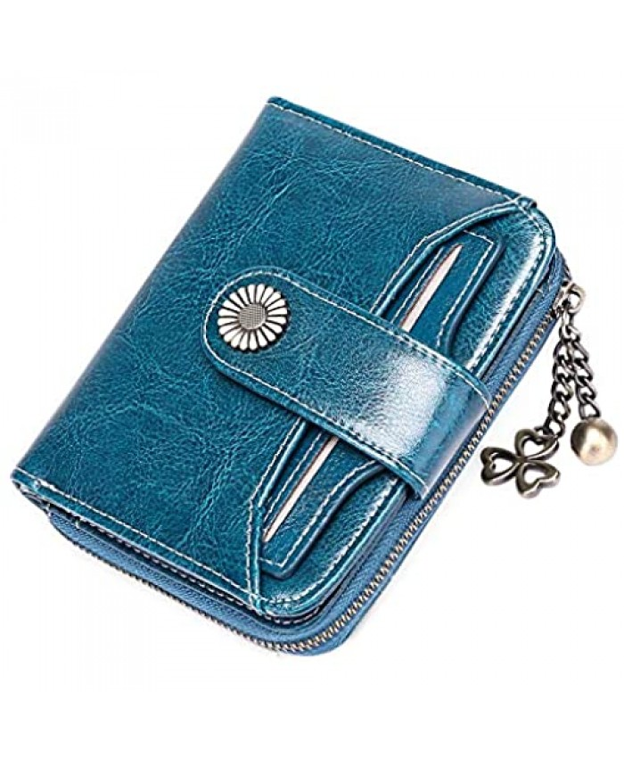 GOIACII Wallet For Women Leather Small RFID Blocking Bifold Zipper Pocket Card Holder with 2 ID Window Peacock Blue