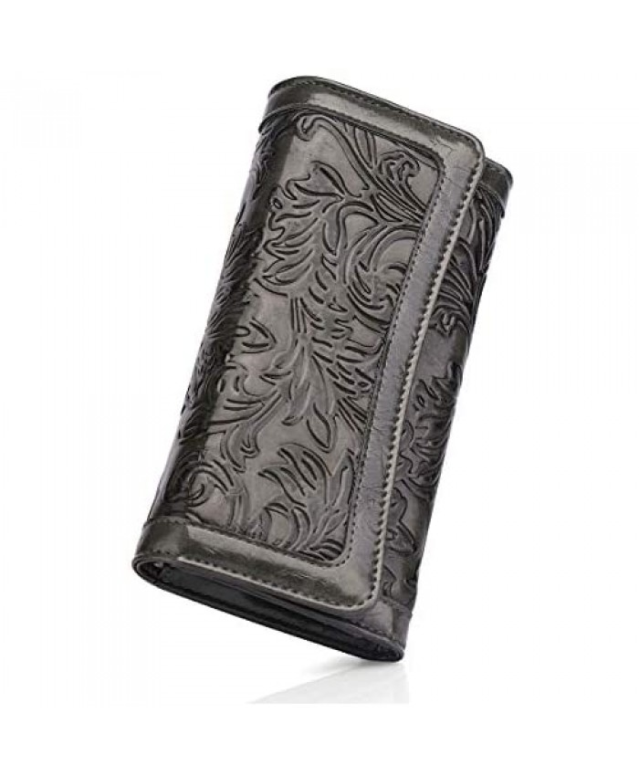 MEITRUE Trifold Wallets For Women RFID Blocking Ladies Wallets Soft PU Leather Money Organizer Credit Card Holder Embossed Long Phone Purse 2214-1