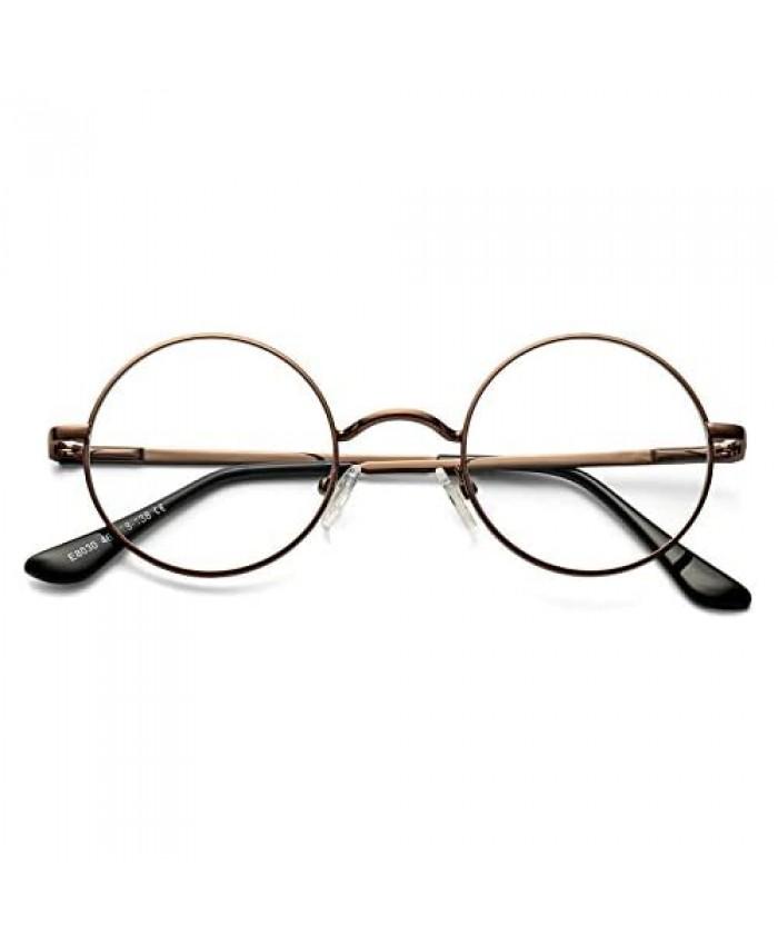 DeBuff Round Clear Lens Glasses Small John Lennon Glasses Non-Prescription